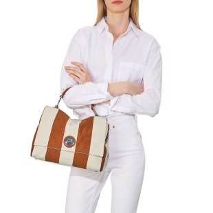 Coccinelle Liya Striped Canvas Tan E1FC8180101W09 2